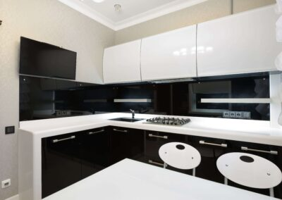 white and black high gloss modern cabinets