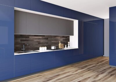 glossy blue cabinets