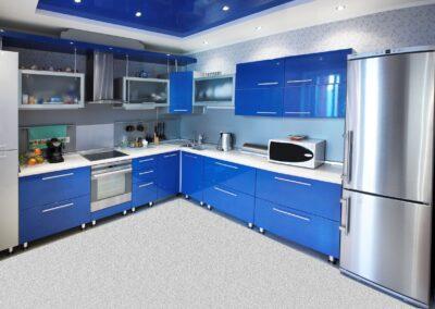 stylish blue gloss kitchen cabinets