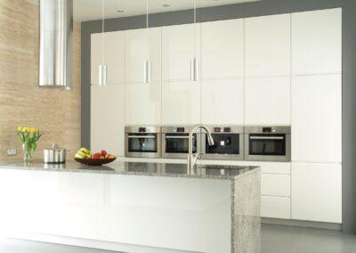 super shiny glossy white kitchen cabinets