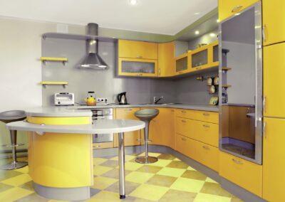 yellow shiny epoxy kitchen cabinets