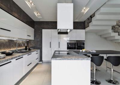 white glossy epoxy cabinets