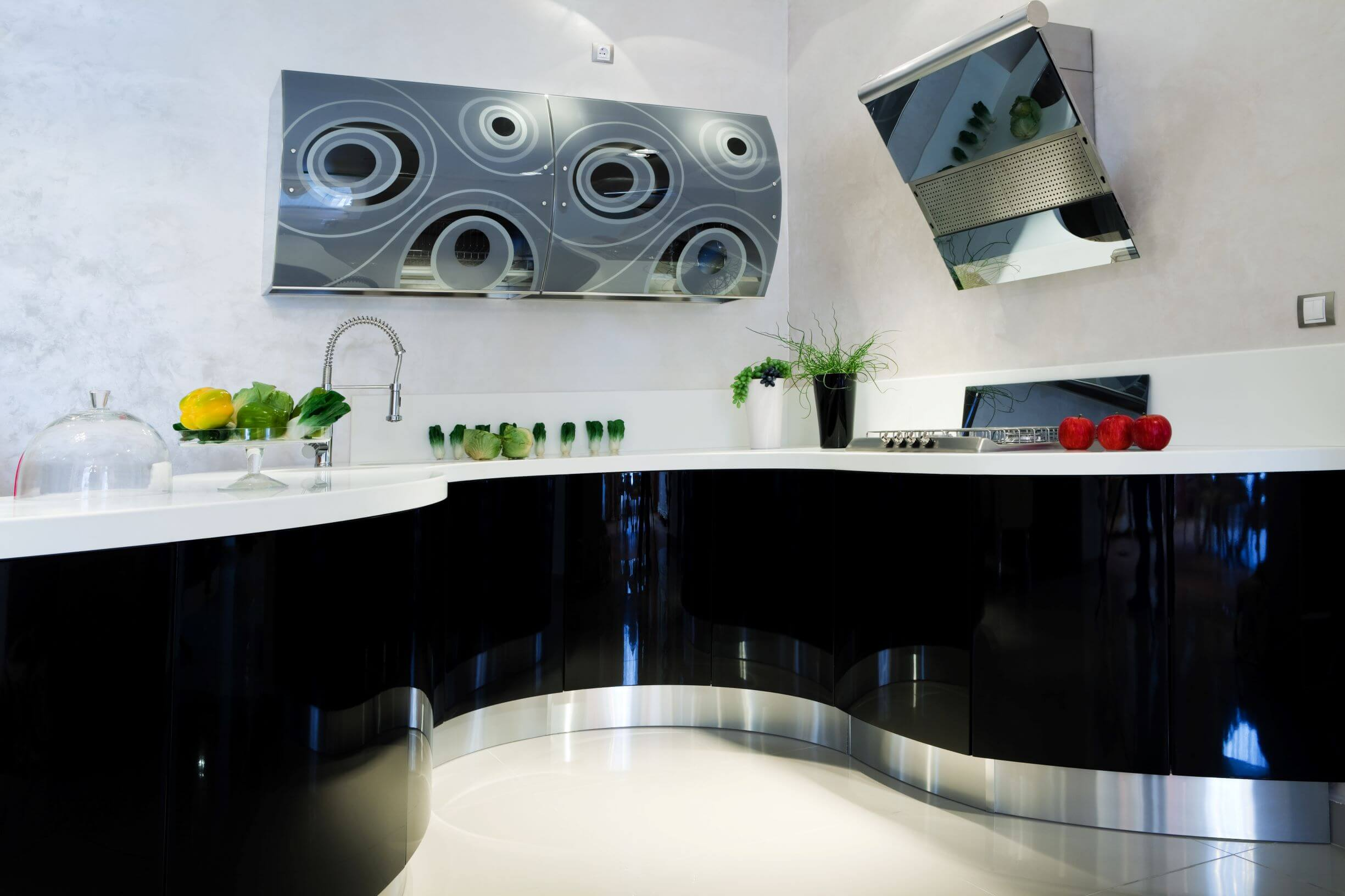stylish black glossy cabinets in vancouver