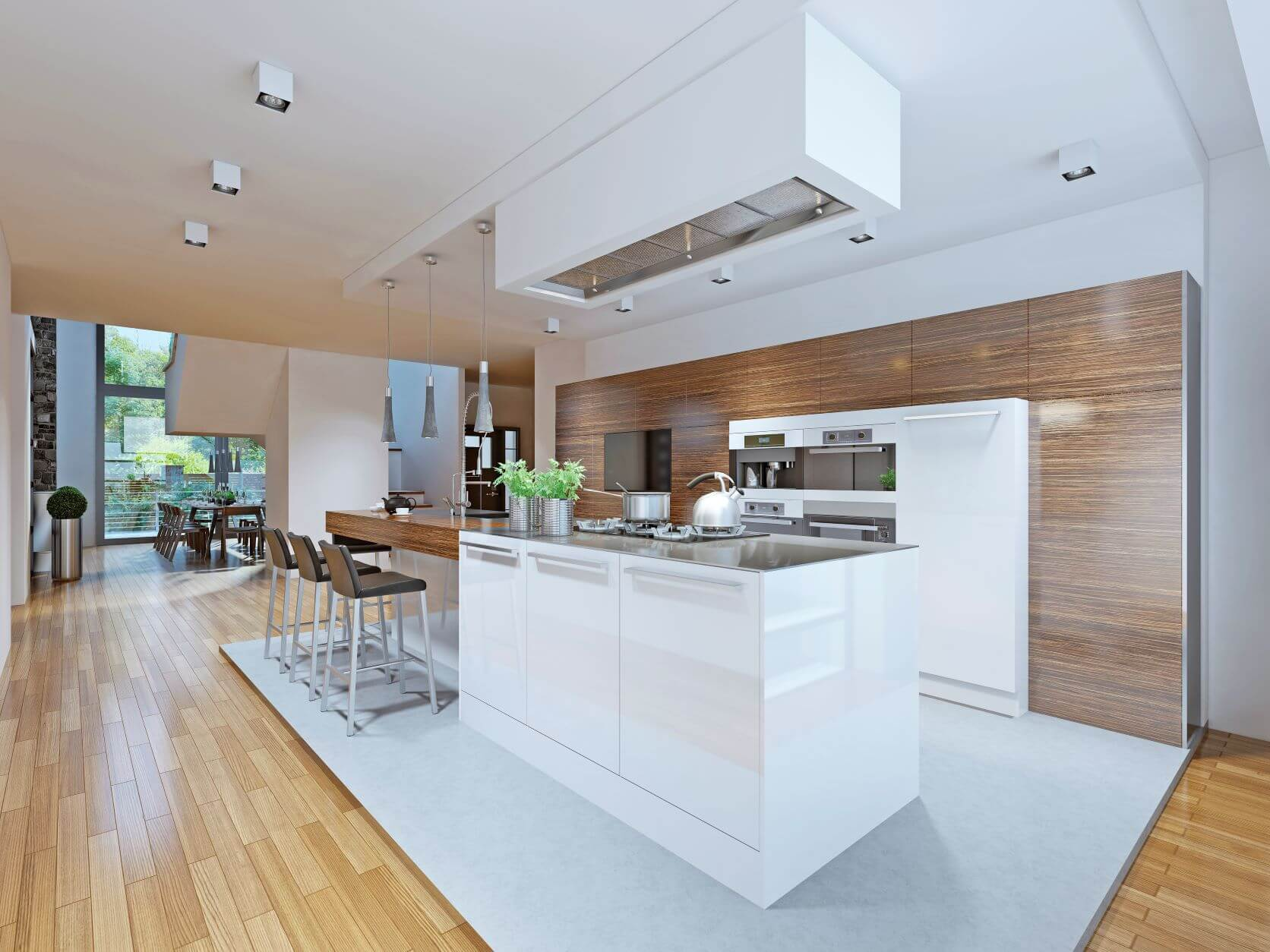 spacious kitchen with glossy grainy cabinets and white glossy island