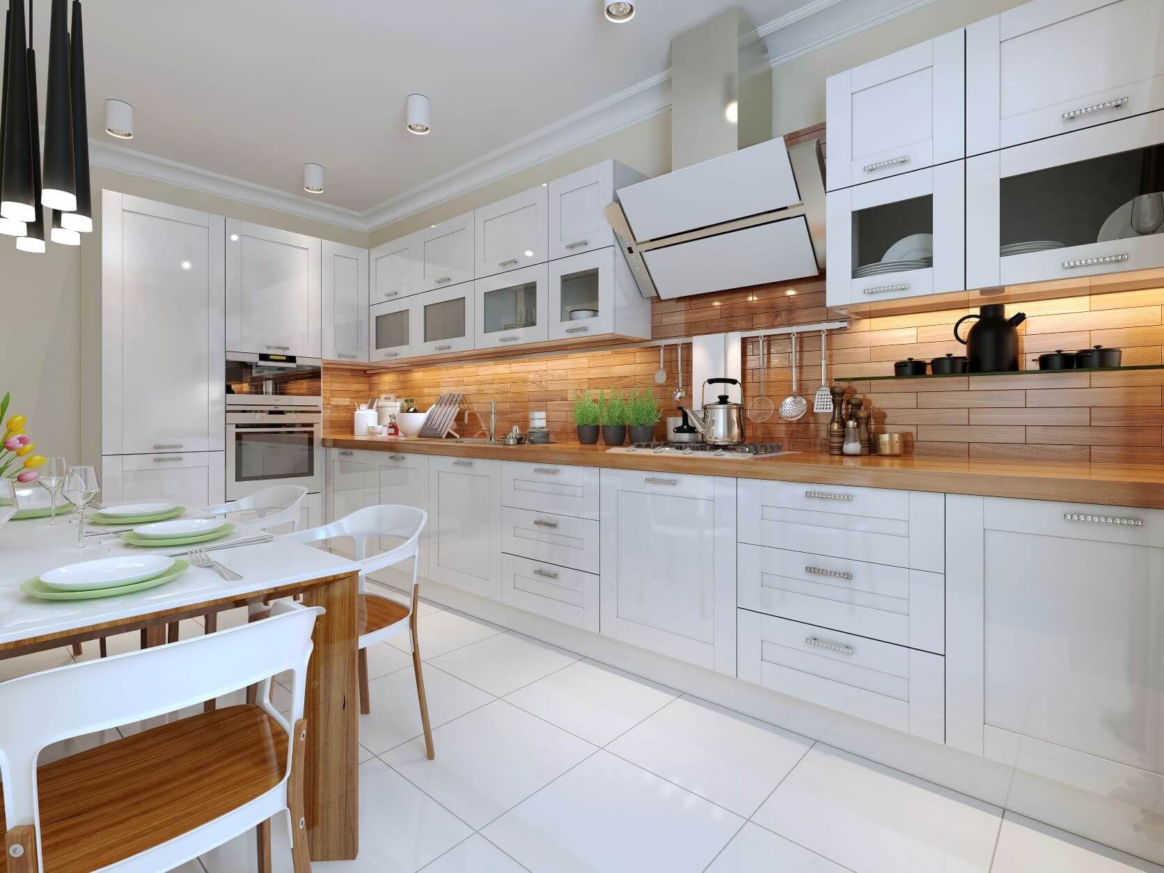 very large kitchen with white glossy cabinets