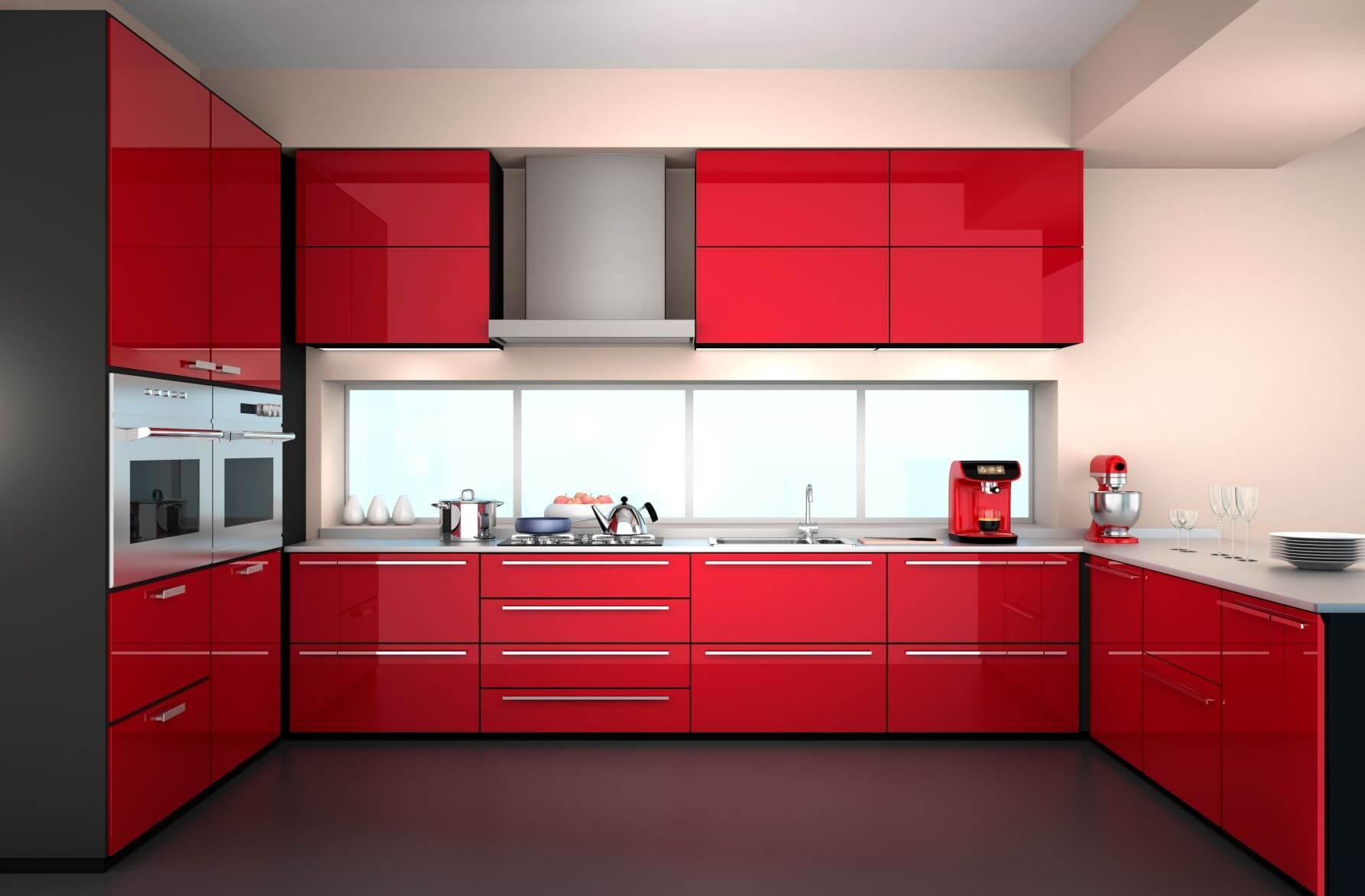 red glossy kitchen