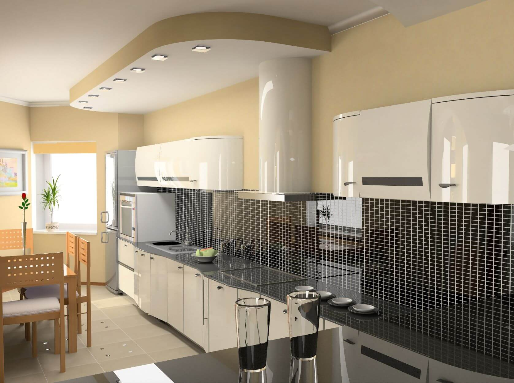 black and white backsplash with white glossy cabinets